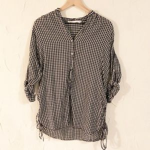 Zara | Gingham Long Sleeve Button Down Blouse